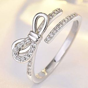 925 STERLING SILVER ADJUSTABLE BOW DIAMOND RING